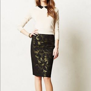 Maeve shimmery camo pencil skirt